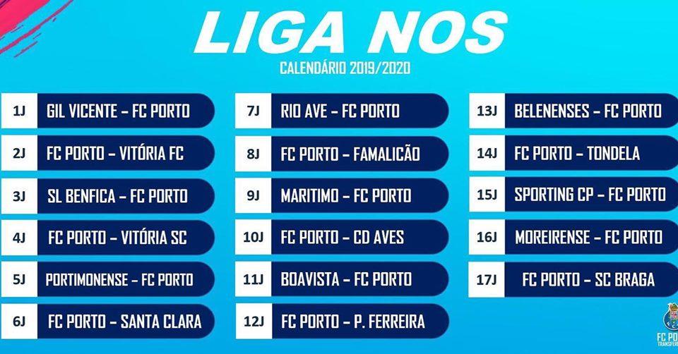 Liga Calendario.Calendario Do Fc Porto Para A Liga Nos 19 20